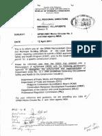 Letter on DPWH NBC Memo Circular No. 2 & Inter-Agency MOA