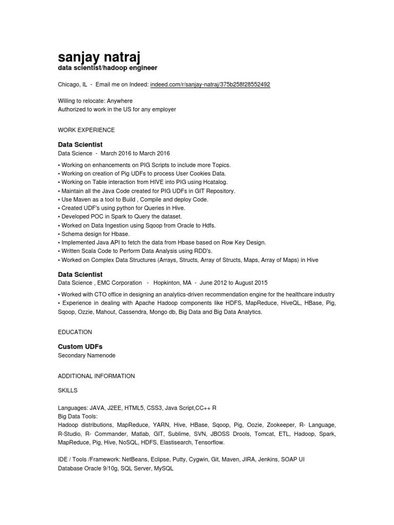 Sanjay Natrajsffafsaf | Apache Hadoop | Apache Spark