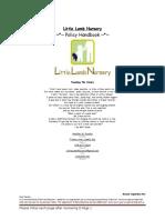 little lamb nursery policy handbook rev march 2015 new family