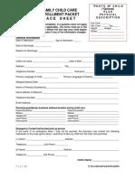 family childcare enrollment packet