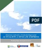 Relaciones Laborales y Evolucion Empresarial. ACTUACION A NIVEL DE EMPRESA