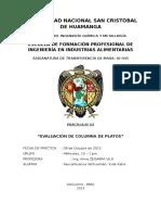 Práctica 3 - Evaluacion de Columnas de Platos