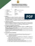 Formulacion y Evaluacion de Proyectos 2015 I