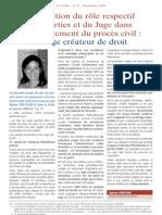 L'evolution du role respectif des Parties et du Juge dans le deroulement du proces civil - le Juge createur de droit (septembre 2008)
