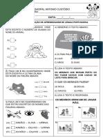 Avaliação II Bimestre de Português 1º ano fundamental