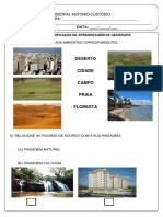 Avaliação II Bimestre de Geografia 1º ano fundamental