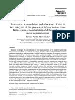 Aquatic Botany Volume 75 Issue 3 2003 [Doi 10.1016%2Fs0304-3770%2802%2900175-4] Barbara Pawlik-Skowrońska -- Resistance, Accumulation and Allocation of Zinc in Two Ecotypes of the Green Alga Stigeoclonium Tenue Kütz. Com