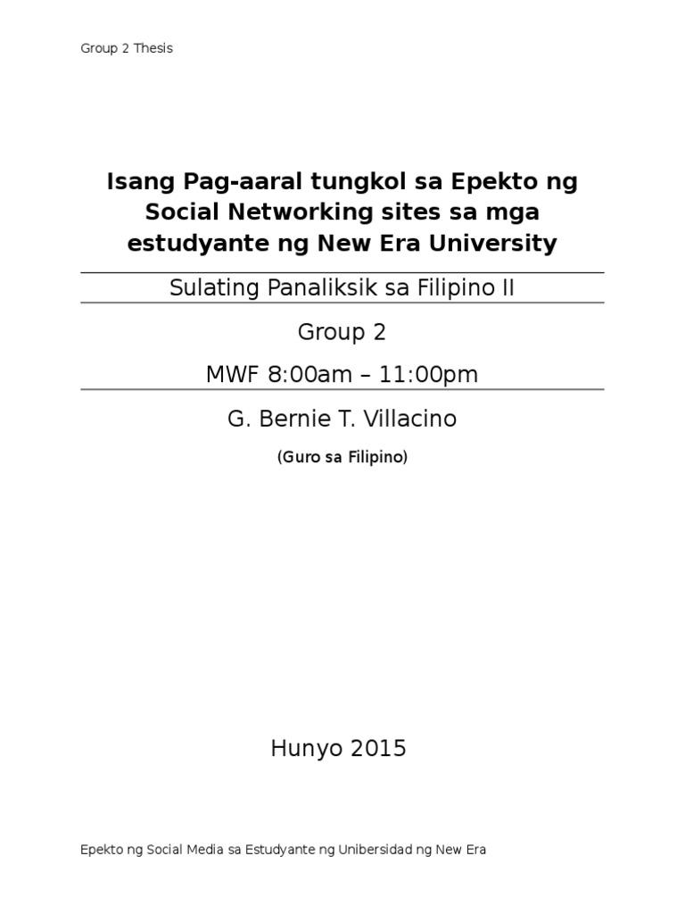 thesis epekto ng social networking sa mga estudyante