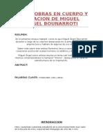 Vida y Obras en Cuerpo y Creacion de Miguel Angel Bounarroti