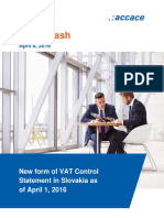 New form of VAT Control Statement in Slovakia as of April 1, 2016