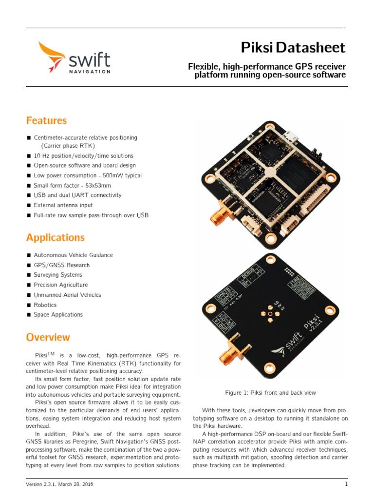 GPS piksi | Microcontroller | Usb