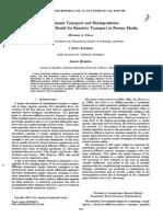 Contaminant Transport and Biodegradation