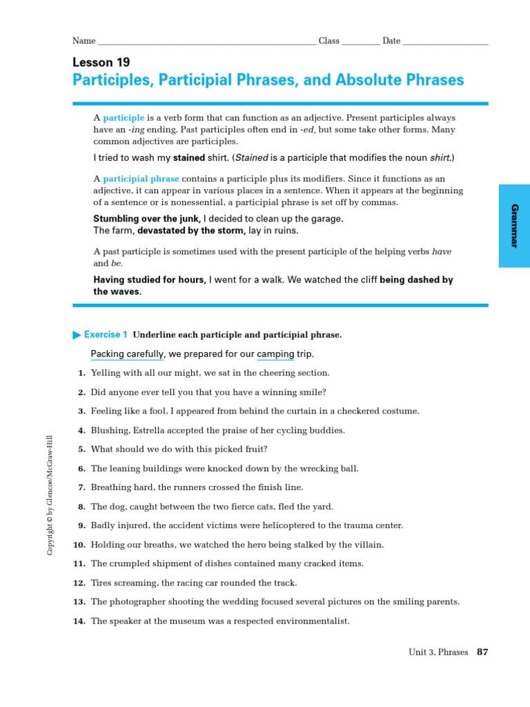 Participial Phrase Adjective – Participial Phrases Worksheet