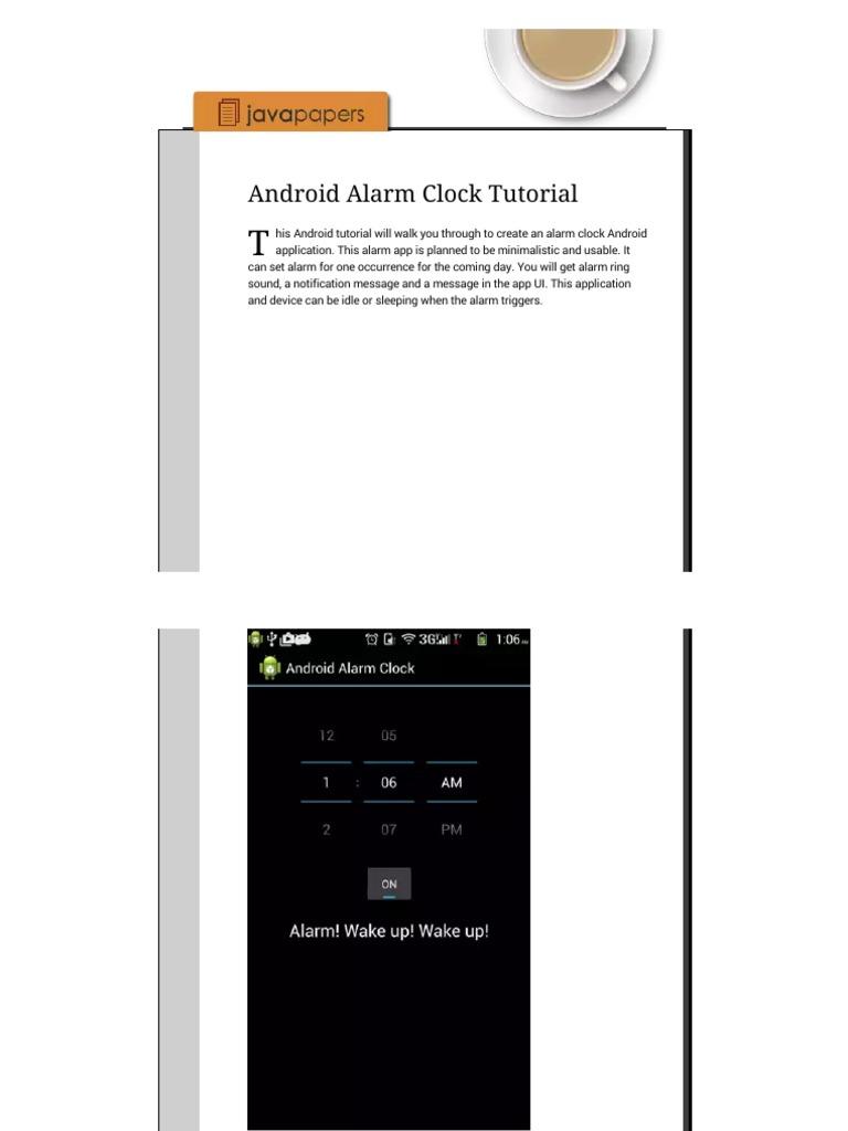 Android Alarm Clock Tutorial - Java Tutorial Blog   Android