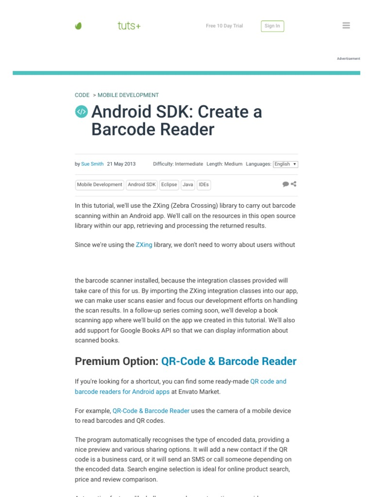 Android SDK_ Create a Barcode Reader pdf | Qr Code