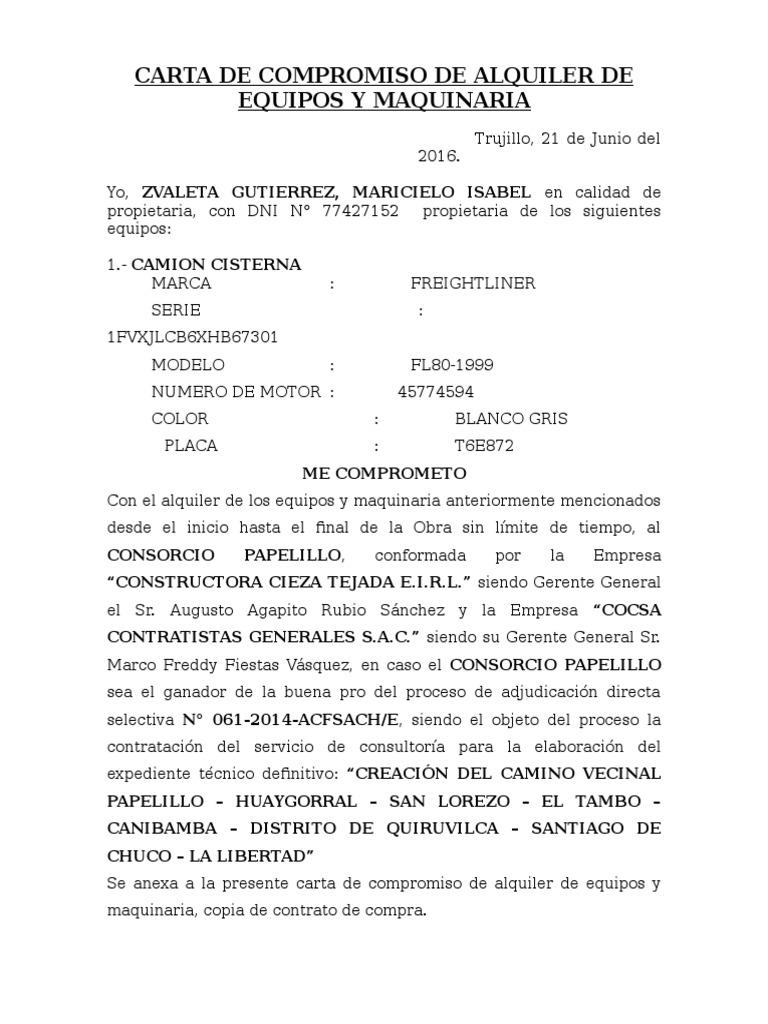 CARTA DE COMPROMISO DE ALQUILER DE EQUIPOS Y MAQUINARIA (felipe ...