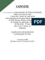Convite - Apresentação Do PPP Para o Grêmio, Lideres e Alguns Alunos Das Turmas - 27.06.2016