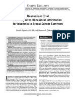 Randomized Trial of a Cognitive Behavioral Intervention for Insomnia in Breast Cancer Survivors