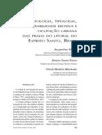 Geomorfologia, Tipologia, Vulnerabilidade erosiva e ocupação urana das praias do Espírito Santo, Brasil