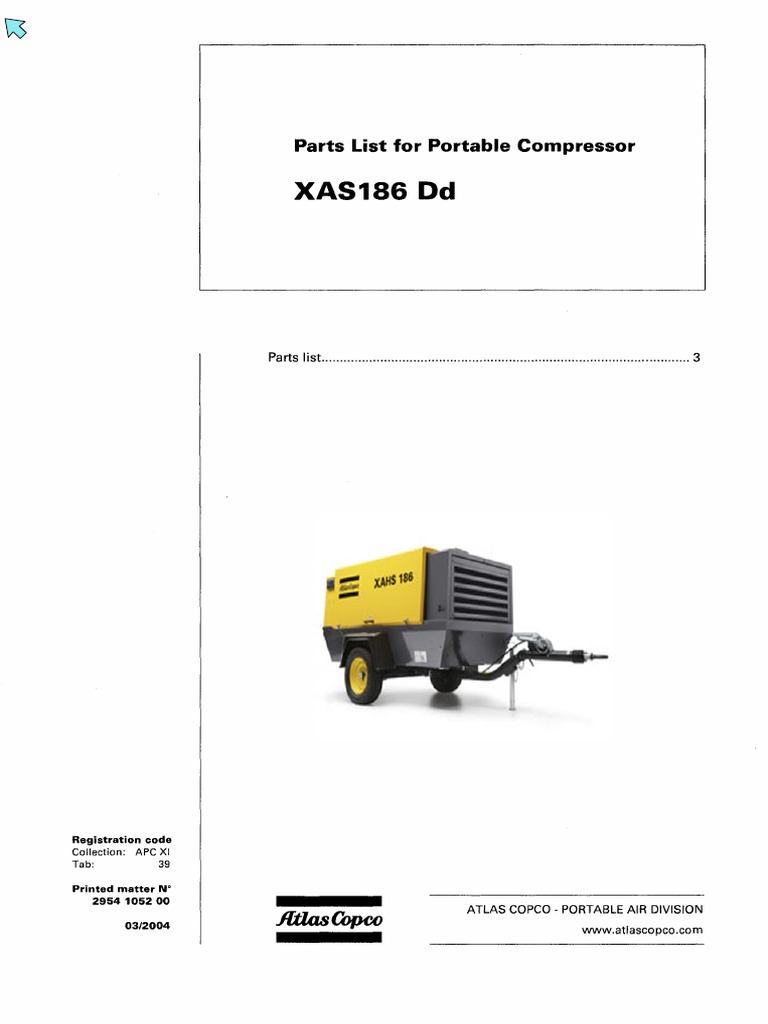 manual de partes atc xas 186 dd rh es scribd com Atlas Copco 185 CFM Compressors Atlas Copco 185 CFM Specs