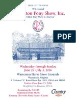 2016 Warrenton Pony Show program