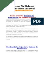 Como Crear Tu Sistema de Facturacion en Excel
