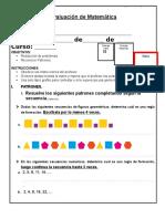 6 Evaluacion de Matematica PROBLEMAS Y PATRONESS