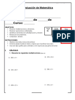 5 Evaluacion de Matematica Multiplicacion DIVISION