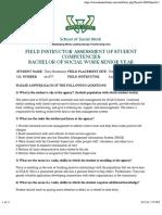 field instructor assessment - senior year