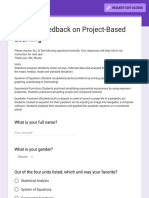 student feedback on project-based learning