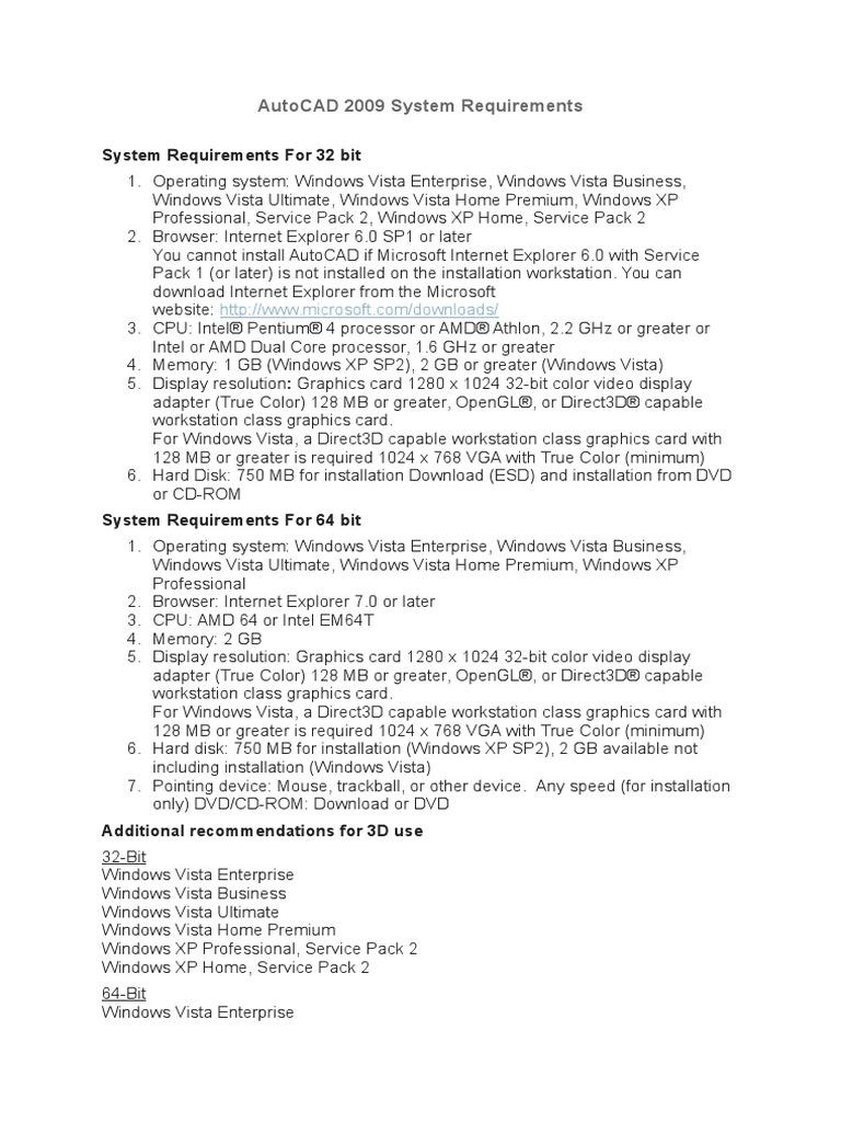 AutoCAD 2009 System Requirements | Windows Vista | Windows Xp