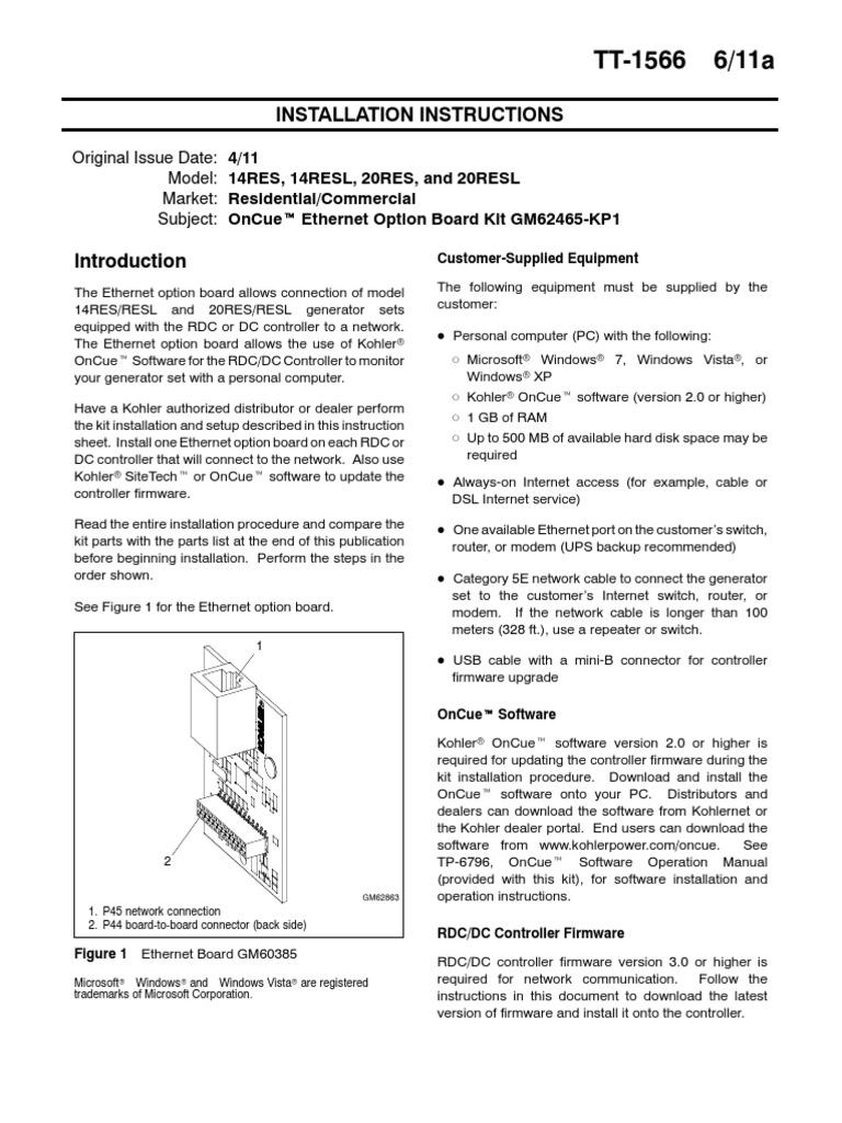 Kohler OnCue Software Installation Directions | Electrostatic ...
