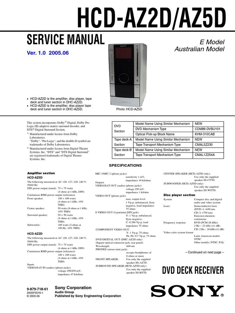Sony HCD-AZ5D AZ2D service manual pdf | Compact Disc | Cd Rom