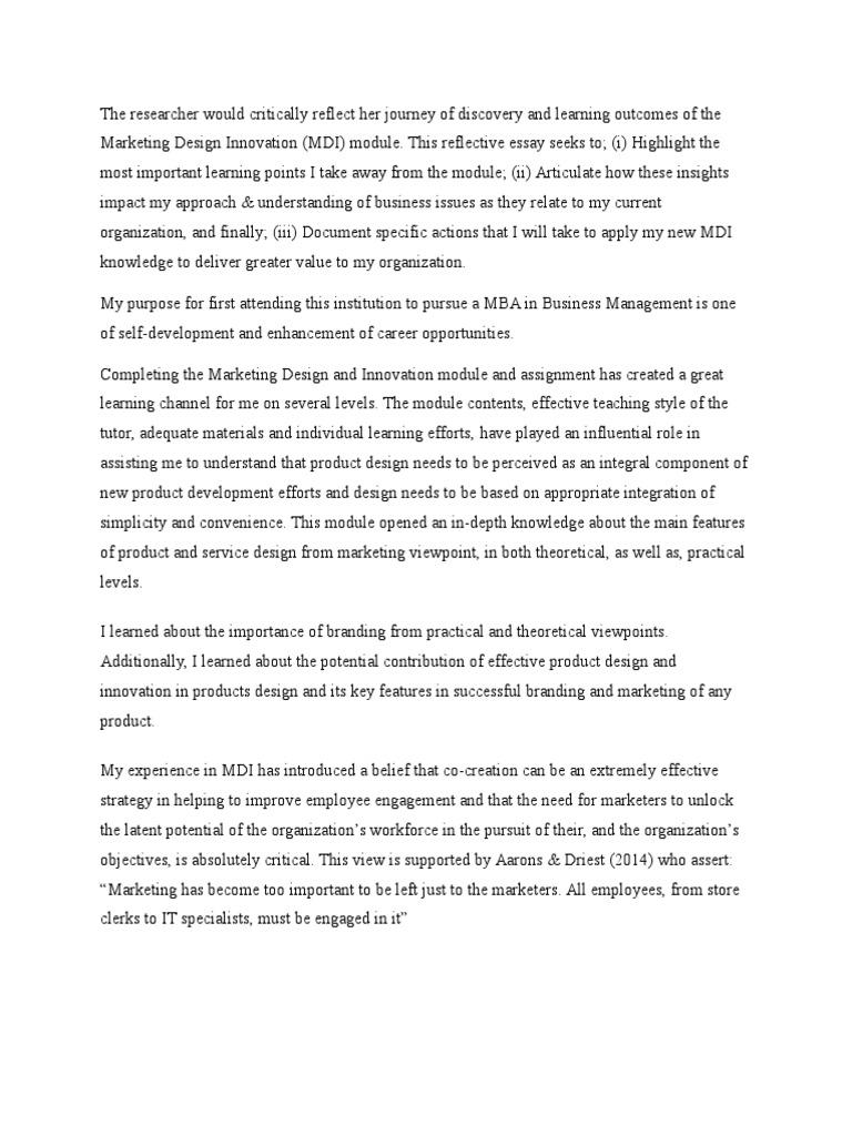 mba marketing reflective essay