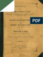 Noticia Dos Senadores Do Brasil - 1823-1836 1844-1886