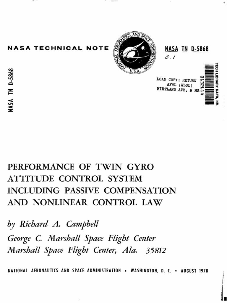 Nasa Gyro Doc Gyroscope Attitude Control Block Diagram Of The And Maneuvering Electronics