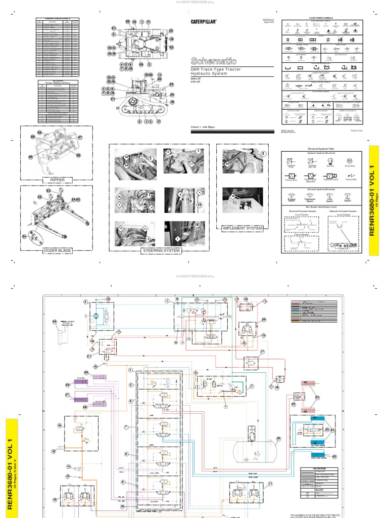 Material Schematic Hydraulic System Track Type Tractors d8r Dozer  Caterpillar