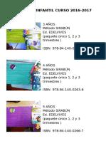 Libros de Infantil Curso 2016