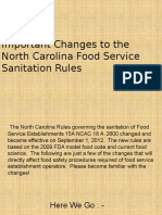 Important Changes to the North Carolina Food Service Sanitation Rules