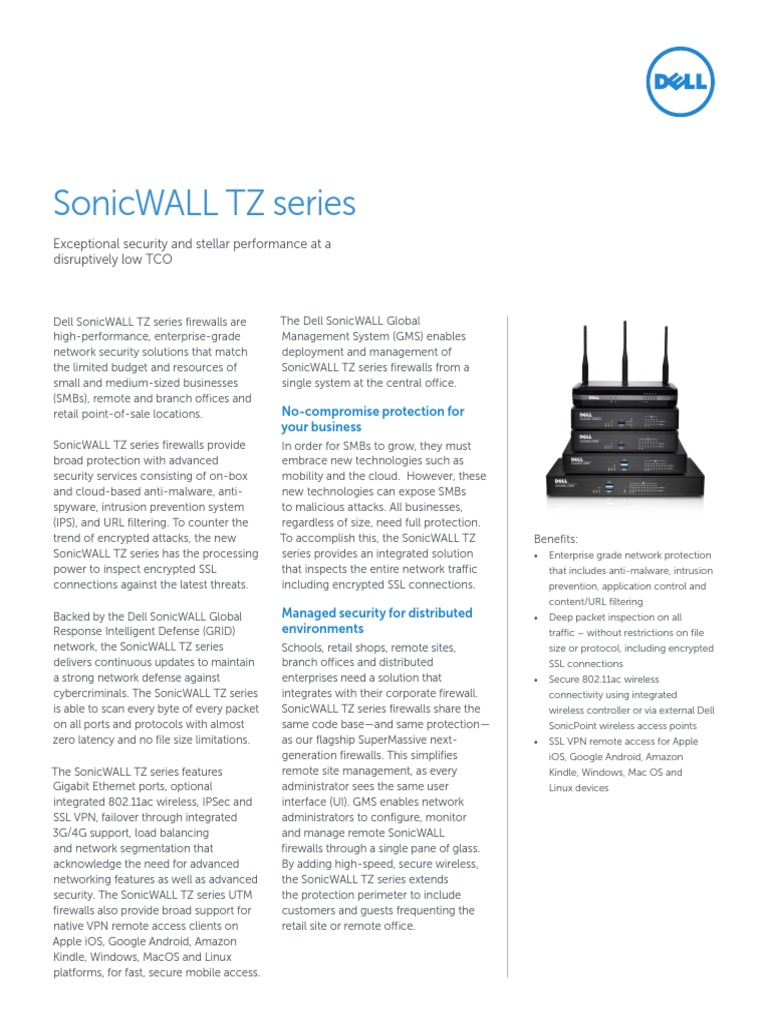 Sonicwall Tz Series Datasheet 68221 | Virtual Private