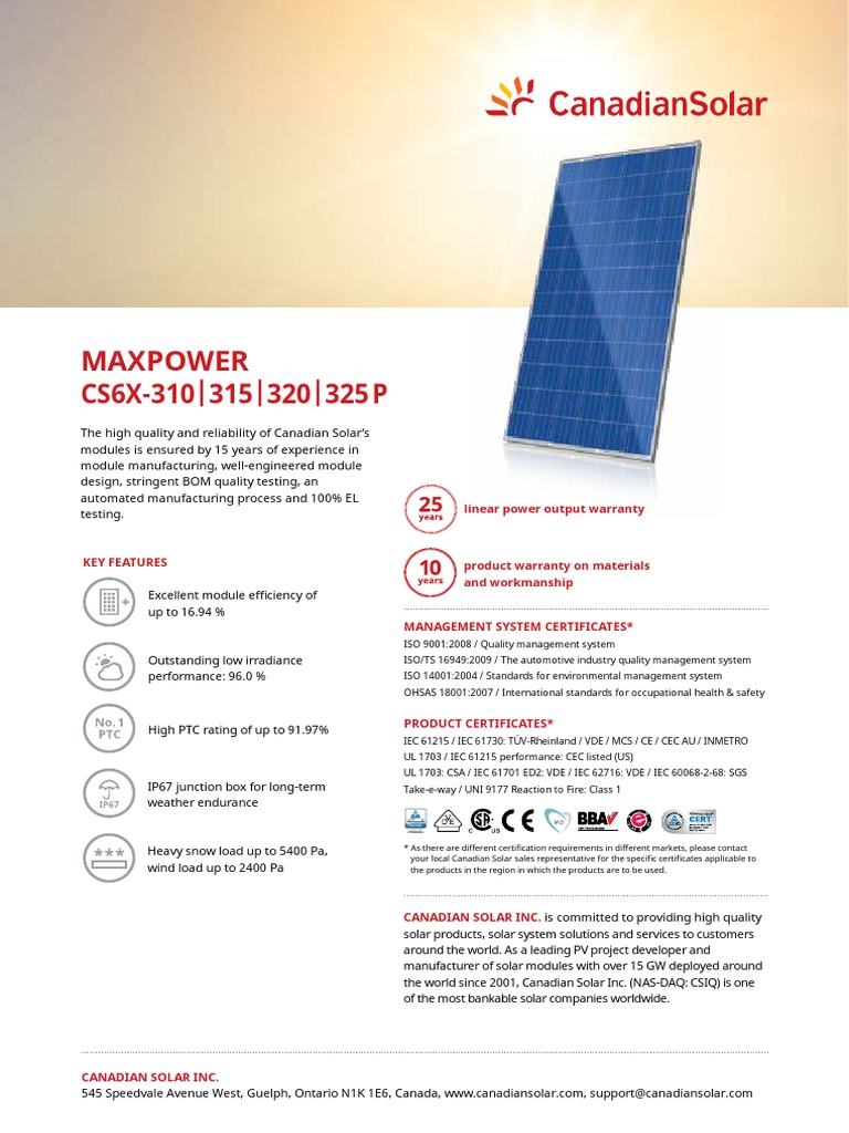 Canadian Solar Datasheet MaxPower CS6X P v5 5en | Electrical