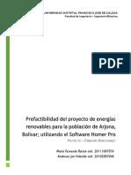 Prefactibilidad del proyecto de energías renovables para la población de Arjona, Bolívar; utilizando el Software Homer Pro