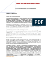 Informe de Auditoria Propositos Especificios Opinion Sin Salvedad Para Snc