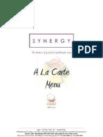 Synergy a La Carte Winter Menu
