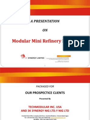 A PRESENTATION on Modular Mini Refinery Project | Oil