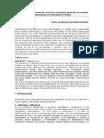 La Desnaturalización Del Titulo de Poseedor Después de 10 Años Posesion en La Cooperativa Tumán