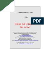 Célestin Bouglé - Essais Sur Le Régime Des Castes