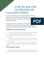 Proyecto de Ley Que Crea El Sistema Nacional de Educación Pública