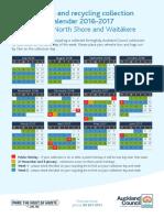 Auckland Council Rubbish Calendar Flyer