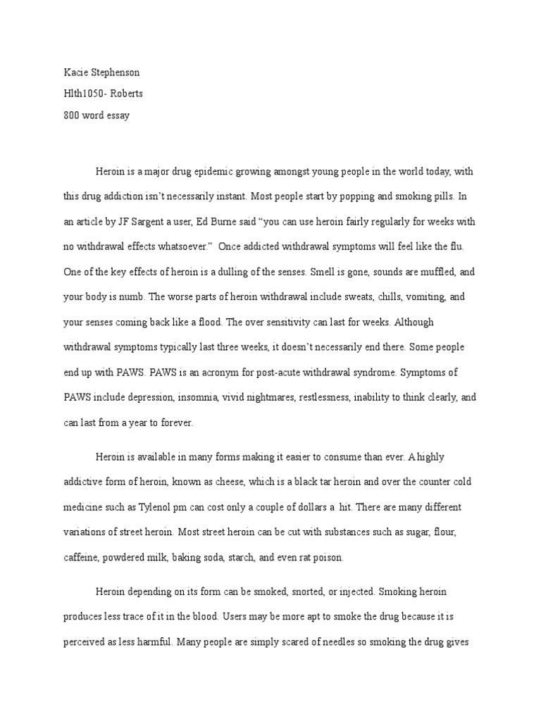 worksheet Post Acute Withdrawal Syndrome Worksheet 800 wd essay hlth heroin medical specialties